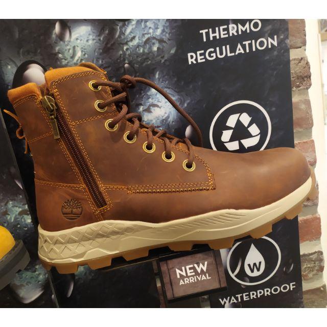 Timberland 男款小麥色全粒面革側拉鍊靴|A271U231