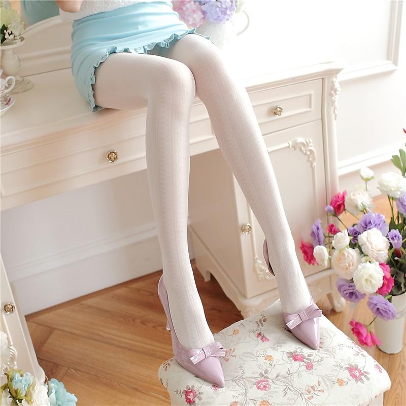 日系甜美白色蕾絲連褲襪春秋薄款顯瘦絲襪女百搭防勾絲打底襪子