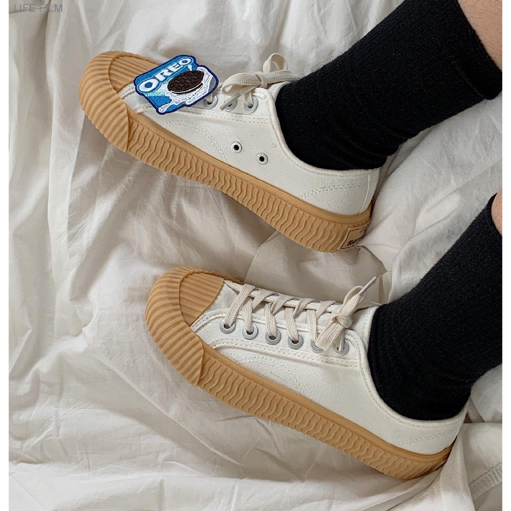 【現貨】餅乾鞋 奶茶色 韓國焦糖餅乾鞋 平底鞋 休閒鞋 厚底帆布鞋 學生小眾鞋 百搭板鞋 大尺碼女鞋 韓版百搭休閒鞋