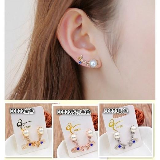 電鍍保色韓國官網水鑽珍珠蝴蝶耳釘耳夾耳骨夾耳扣