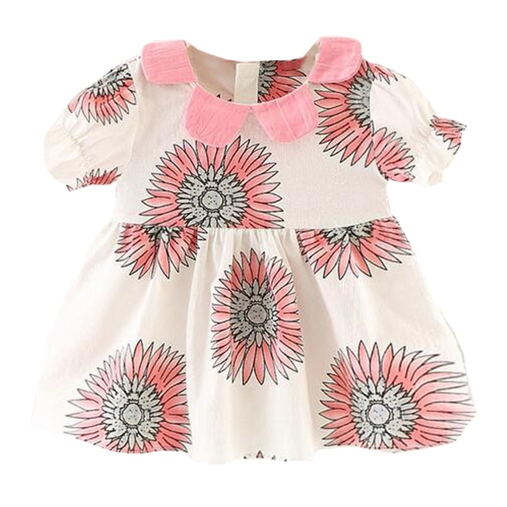 女寶寶棉麻料向日葵印花清新可愛洋裝童裙6 個月三歲