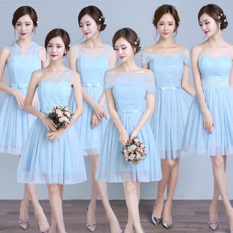 伴娘服短款韓式伴娘團伴娘禮服天藍紫色小禮服姐妹裙畢業晚禮服