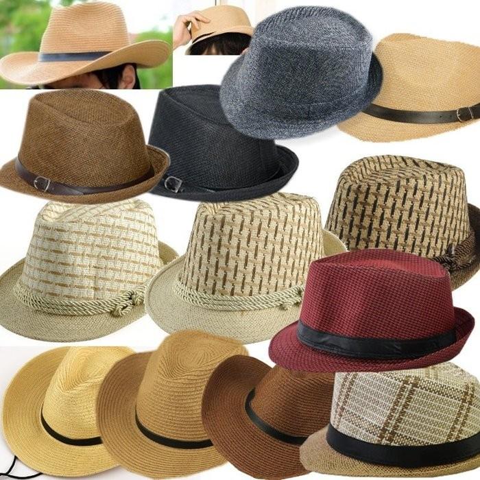 男女情侶草帽紳士帽遮陽帽海灘帽漁夫帽平頂帽子防曬 kiwi 小舖~GM017 ~
