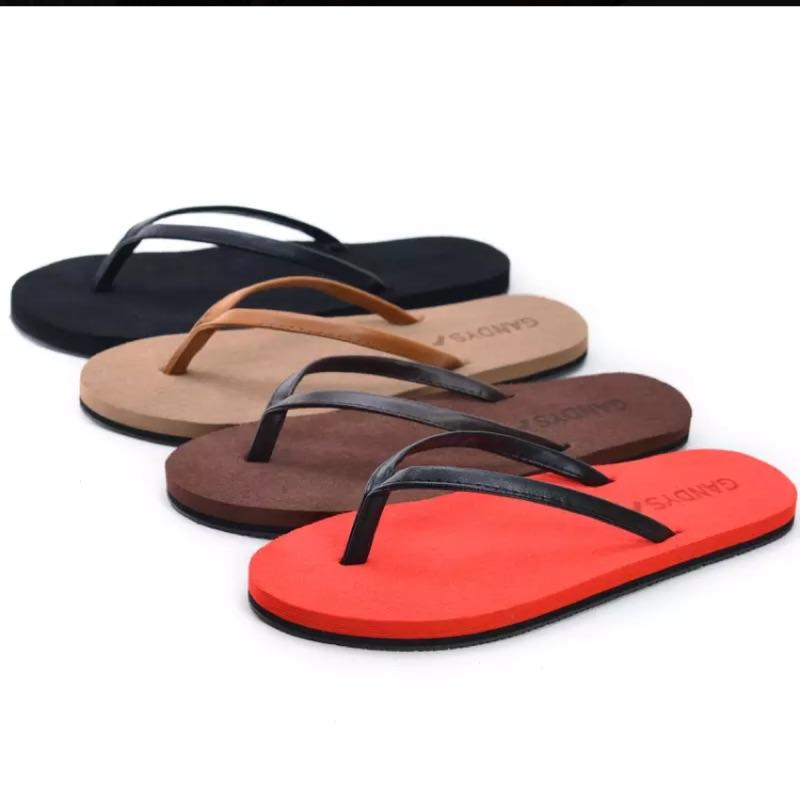 休閒沙灘鞋夾腳防滑女情侶厚底皮拖鞋