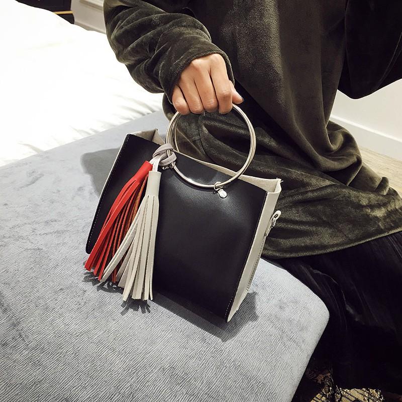 包包2016  女包子母圓環包手提包流蘇撞色單肩斜挎包小包潮