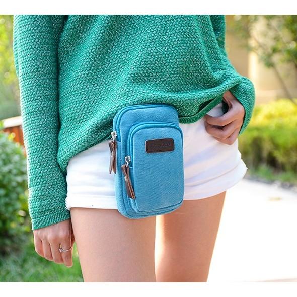 dreamer shop ~休閒款帆布斜肩腰掛包扣式腰包工具包 包小腰包小手機包多用腰臀包