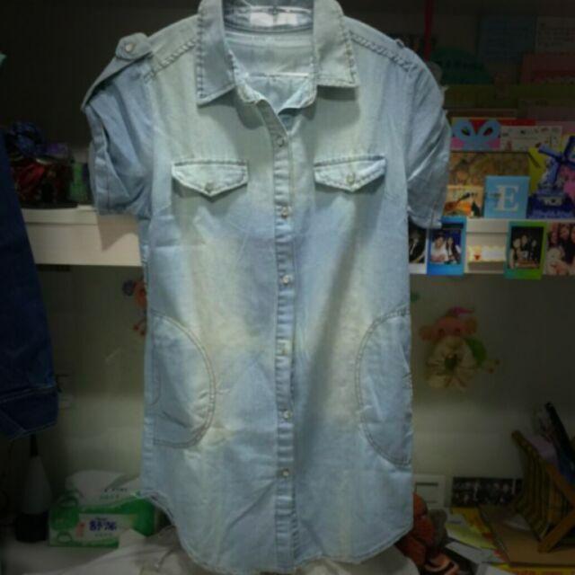 淺色水洗牛仔短袖襯衫~雙側小口袋
