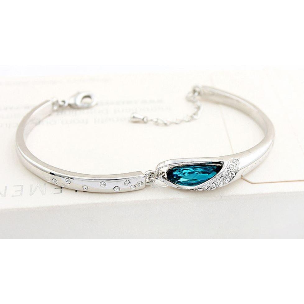 ♡sweetwing ♡ 百搭精緻氣質銀色不規則藍寶石水鑽 手環手鍊