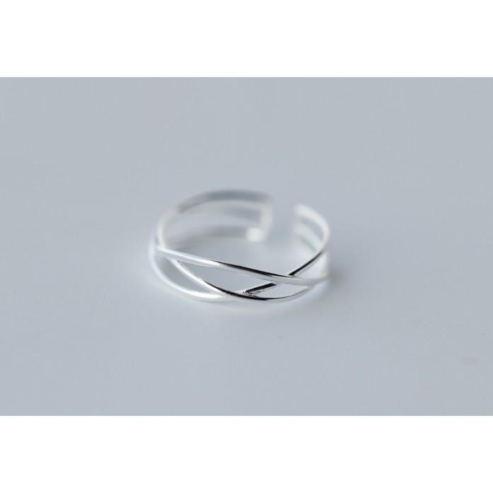 85 °C 銀鋪線條感交叉開口戒指簡約編織感食指戒不過敏925 純銀J33