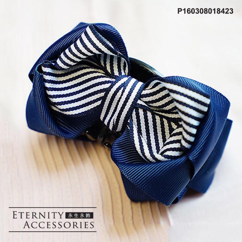 夏日~清涼海洋風格~可愛藍白條紋蝴蝶結髮夾髮飾