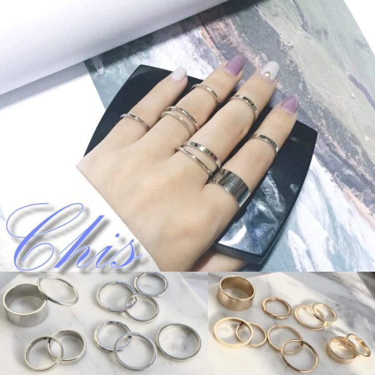 Chis Store ~簡約金屬戒指十件組~韓國 百搭簡單 素面金色銀色寬細關節戒指尾戒1