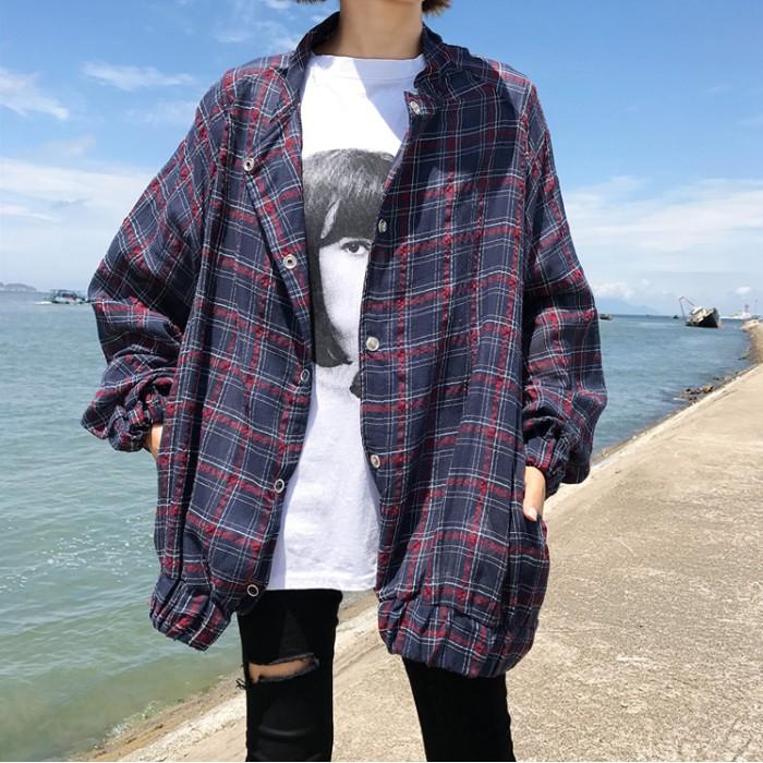 ~ ~新鮮貨實拍韓系 百搭 格子條紋拼色蝙蝠袖學院風休閒寬鬆潮流長袖外套
