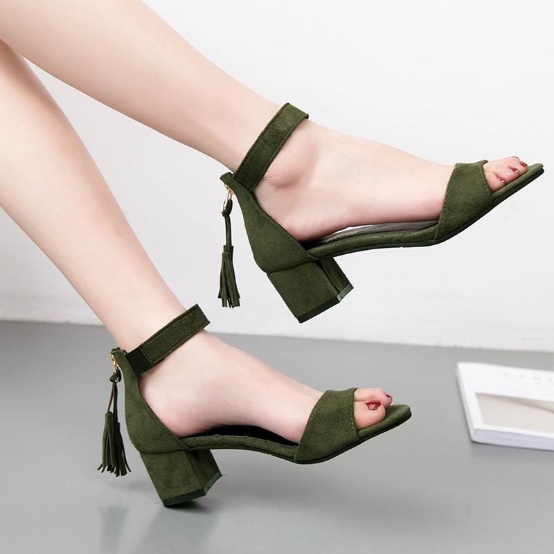 2017  女鞋粗跟高跟鞋女中跟鞋壹字扣帶露齒涼鞋包跟羅馬鞋