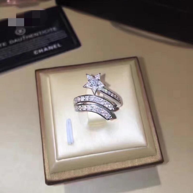S925 純銀戒指小香兒同款流星螺旋鑲鑽石戒指白金銀指環聖誕節情人節生日