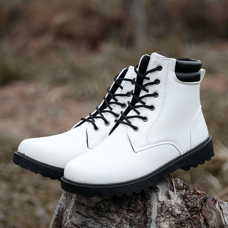 男靴 復古男士馬丁靴男皮靴英倫中筒工裝靴~販賣美好~