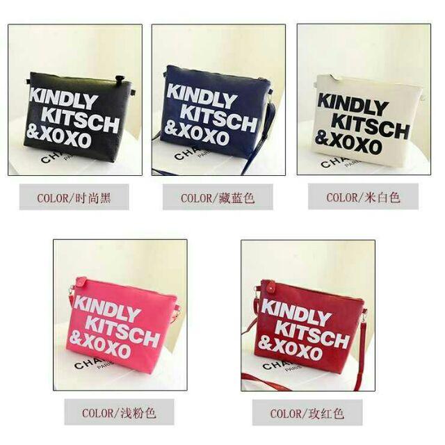 實拍+ 價韓國雜誌 款 百搭小清新字母印刷手拿單肩斜跨信封包~大款厚型