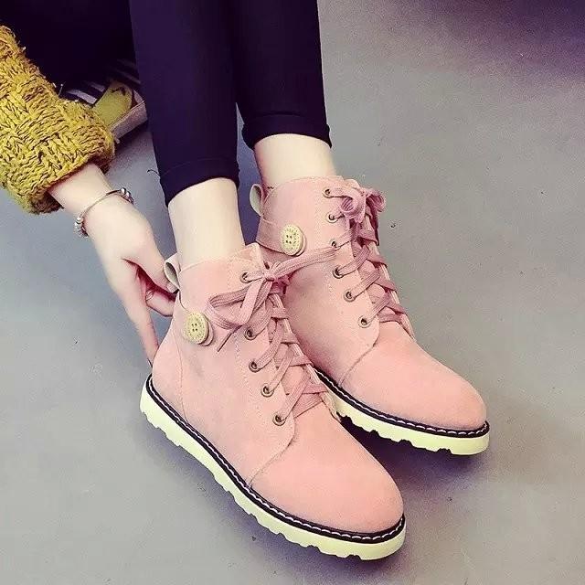 女靴Korea ~時裳秀馬丁靴女2016  厚底低跟圓頭短靴前系帶棉靴黑色棉鞋子潮