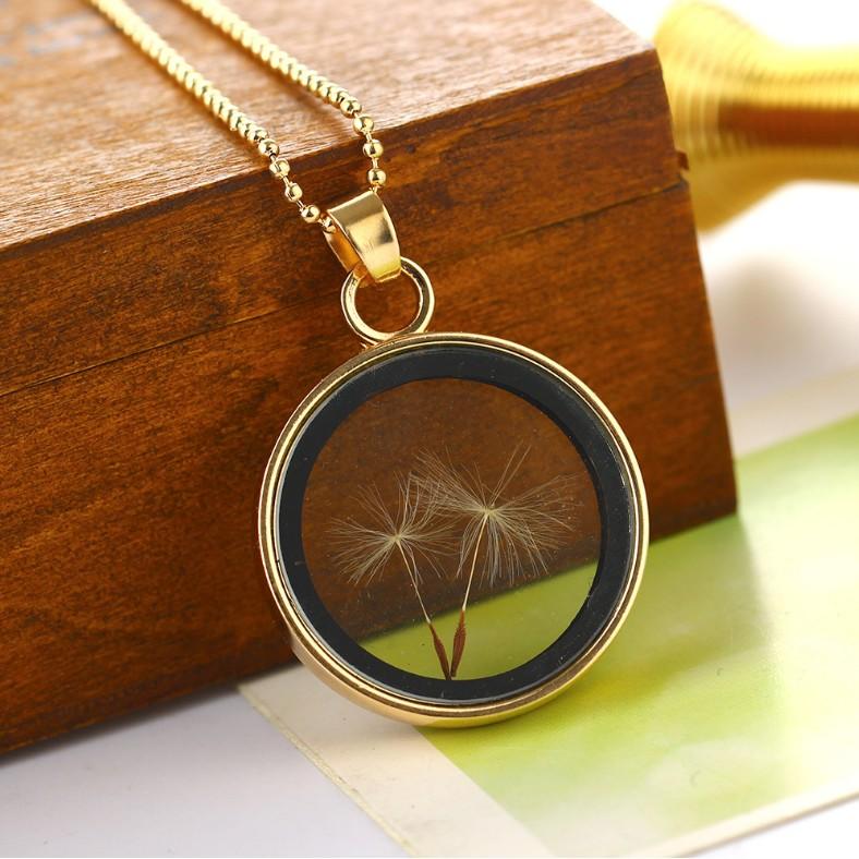 ~森林飾界~蒲公英玻璃金色相框簡約項鍊