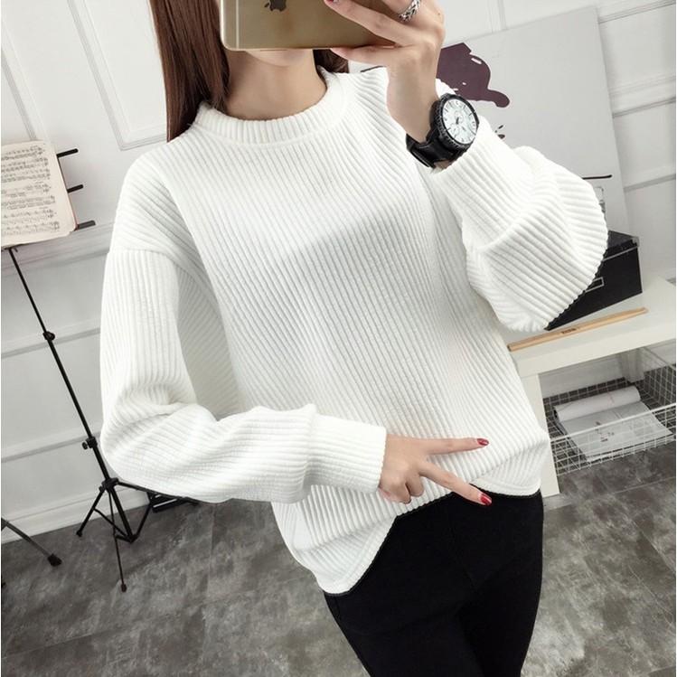 圓領毛衣女 寬鬆打底白色針織衫女套頭學生加厚羊毛衫線衣