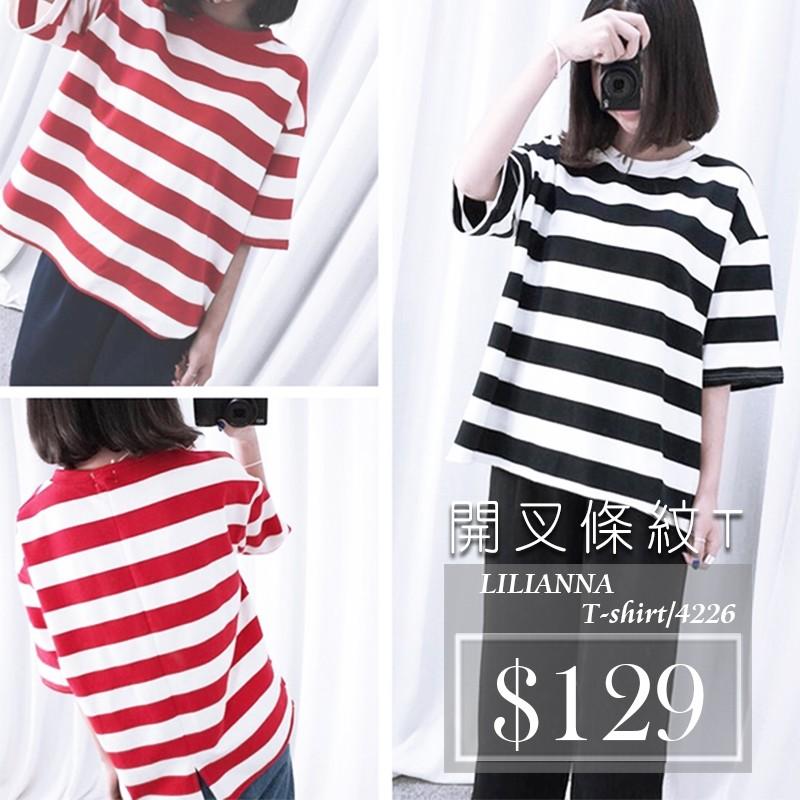 ~ 空運、 出貨~ 條紋後開叉顯瘦短袖T 恤~莉莉安娜~4256 ~