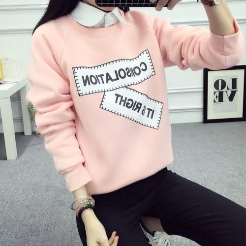 MOMO 大學T 長袖上衣實拍 裝 加絨加厚繡花衛衣女上衣百搭 上衣韓國學生學院風 百搭