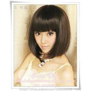 ~WDK ~W065 一件代發蓬鬆款 bobo 頭短髮修臉高溫絲齊瀏海女生俏麗短髮短假髮
