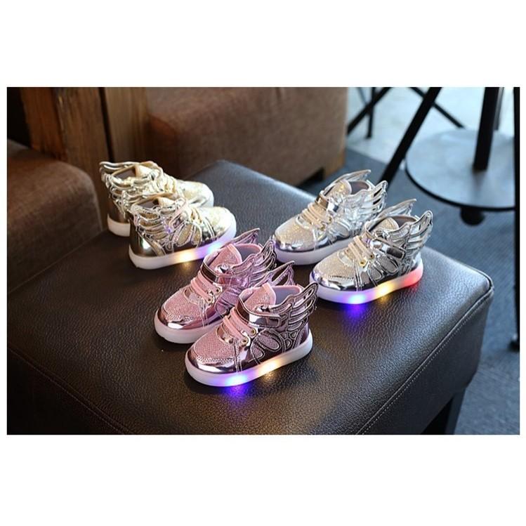 男女童天使翅膀閃燈鞋發光鞋板鞋休閒鞋大中小童