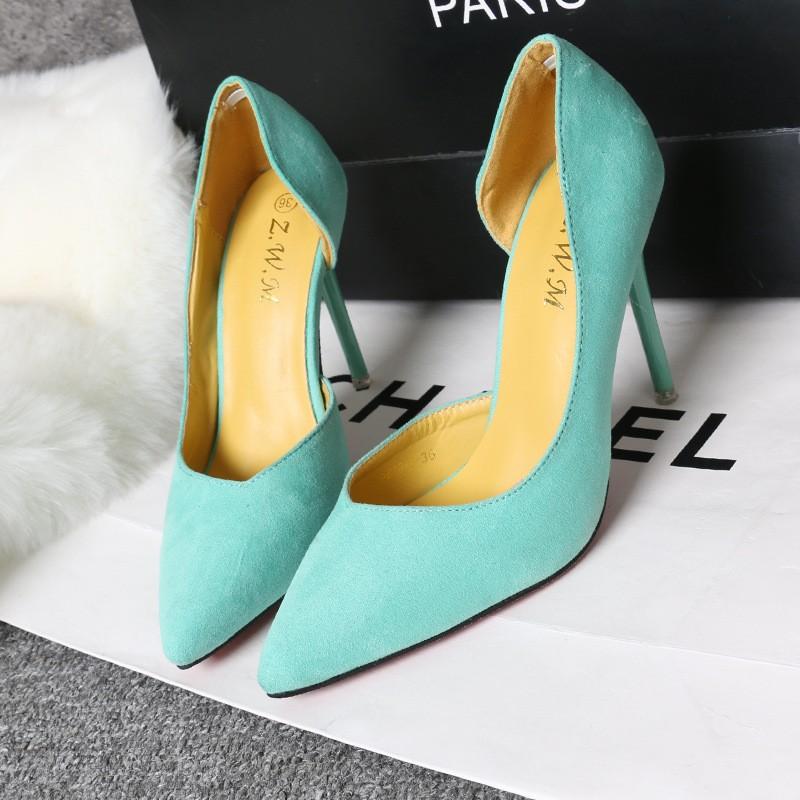 簡約細跟高跟絨面顯瘦淺口尖頭側性感鏤空單鞋