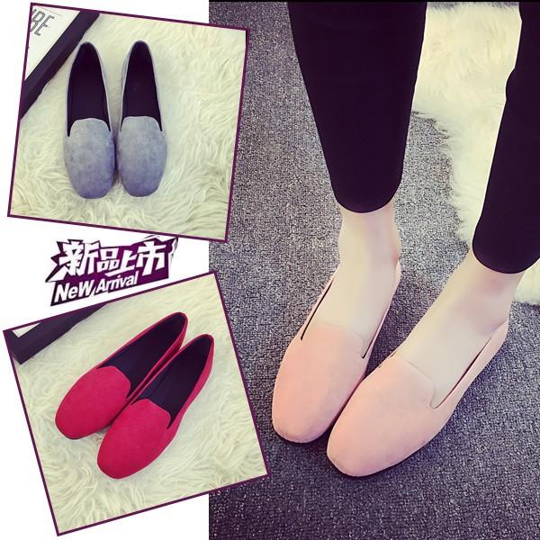 韓國范平底單鞋女豆豆鞋2016 春夏 方頭舒適平跟鞋子黑色單鞋女平底鞋