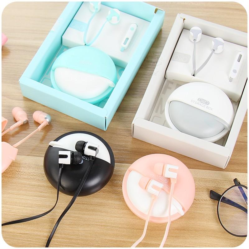 女學生可愛粉馬卡龍耳機入耳式手機線控耳麥帶麥收納盒包郵