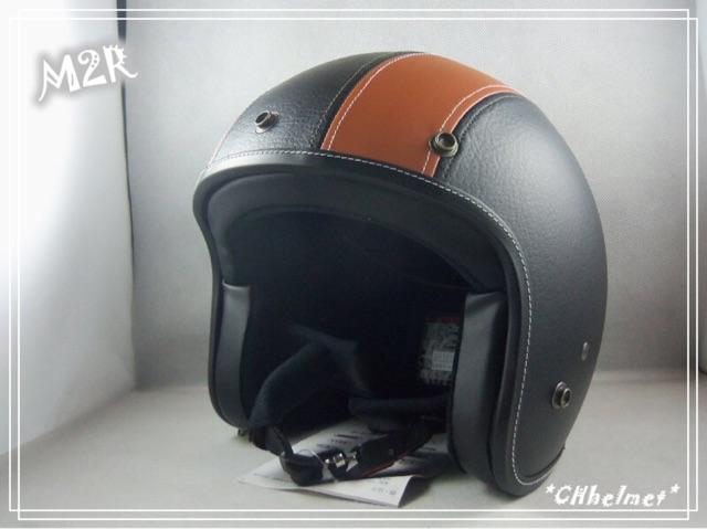 皮革安全帽m 號小頭黑黑橘m2r 皮質嘻皮帽皮製絨布襯 全罩復古安全帽