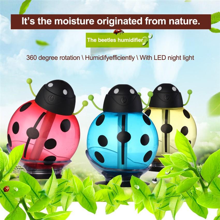 2016 260ML 小瓢蟲LED 迷你空氣超聲波加濕器DC 5V 室內空氣擴散器USB