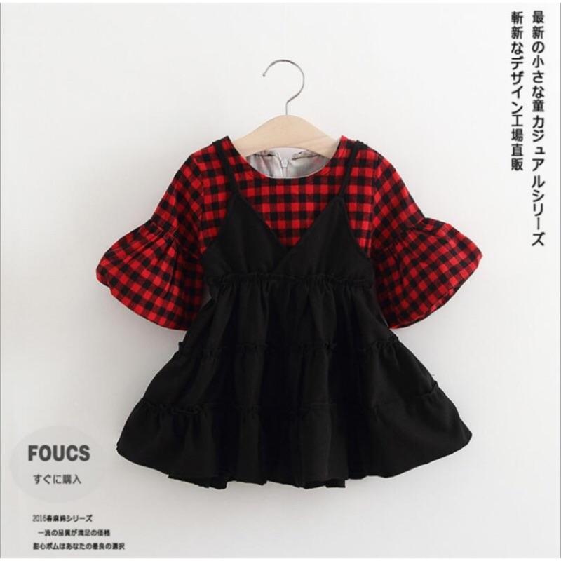 [衣童穿新衣]即將到貨韓系女童格紋假兩件洋裝連衣裙