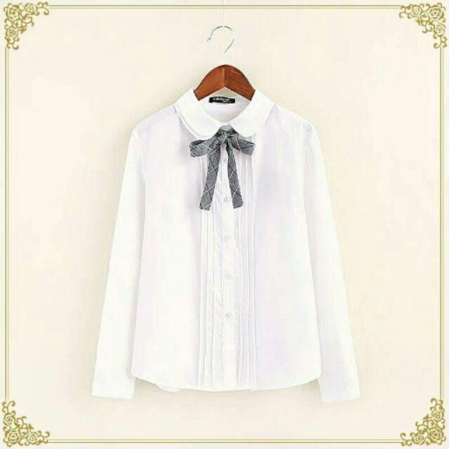 森女系可愛甜美百搭娃娃領蝴蝶結領結長袖短袖襯衫