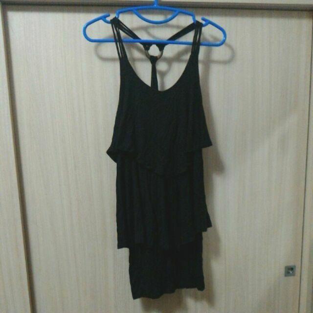 春夏海灘黑色性感彈性包臀傘裙莫代爾洋裝