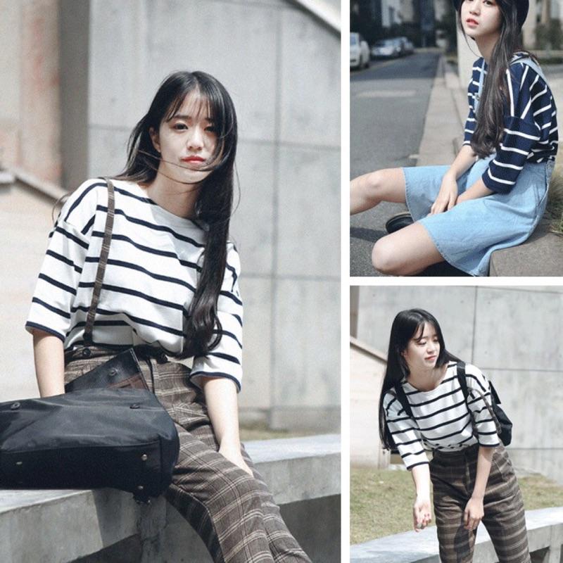 夏裝 韓國ulzzang 復古原宿BF 風粗橫條紋韓範學生打底短袖女T 恤