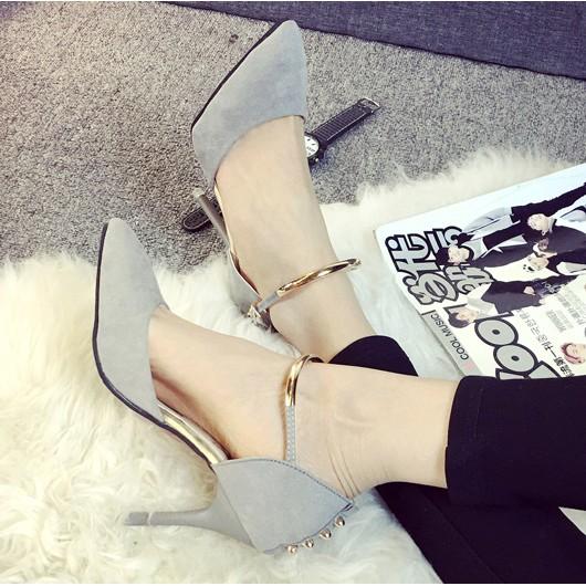 2016 春 性感鉚釘尖頭高跟鞋一字扣帶夜店女鞋細跟單鞋高跟鞋單鞋豆豆鞋涼鞋懶人鞋