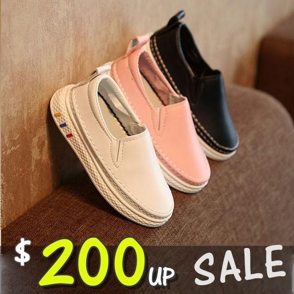 饅頭家小中大童休閒鞋舒適軟皮軟底縫線小白鞋3 色~5B339 ~