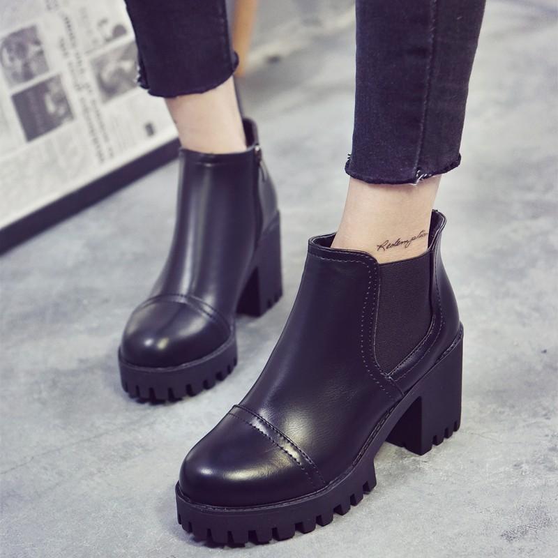 ☞☞❤ 匯❤☜☜粗跟短靴女春秋單靴厚底松緊口側拉鏈短筒女靴高跟英倫風馬丁靴潮高 短靴裸靴