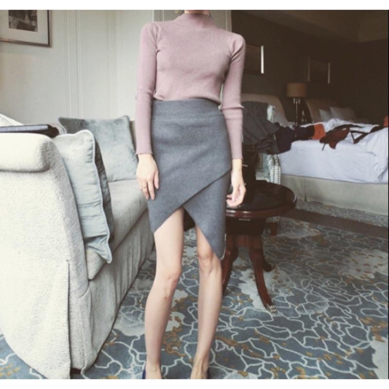 韓國不規則交叉休閒包臀窄裙3 色