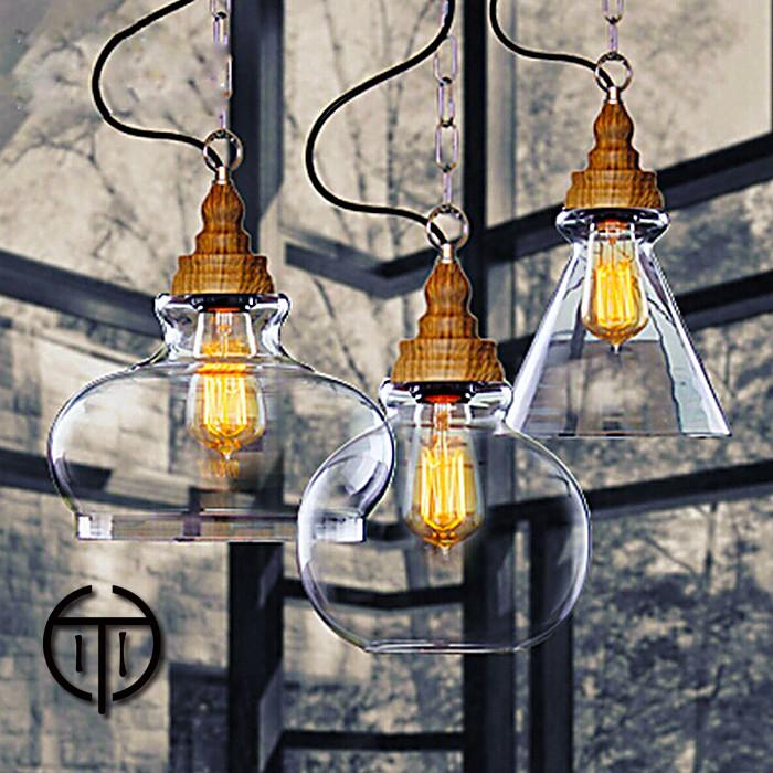~Cohiti ~ 北歐復古木紋透明玻璃吊燈餐桌吊燈客廳燈具吧檯燈三款