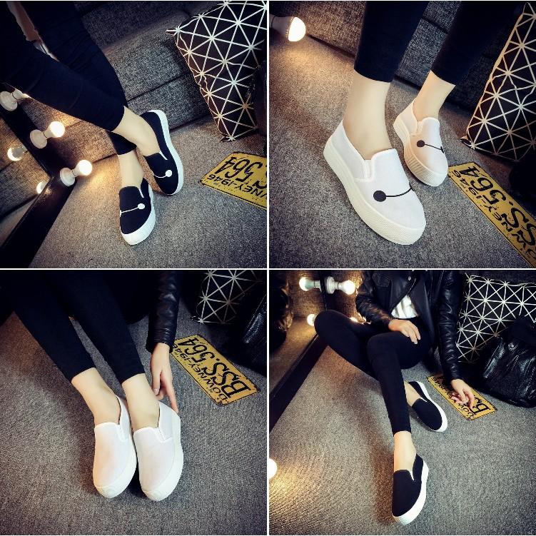 超好穿舒適杯麵微笑笑臉純白純黑素色厚底懶人鞋增高小白鞋包鞋