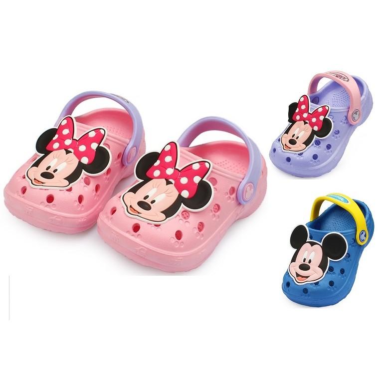 迪士尼 米奇米妮防滑兒童沙灘鞋洞洞鞋沙灘洞洞鞋布希鞋防水涼鞋