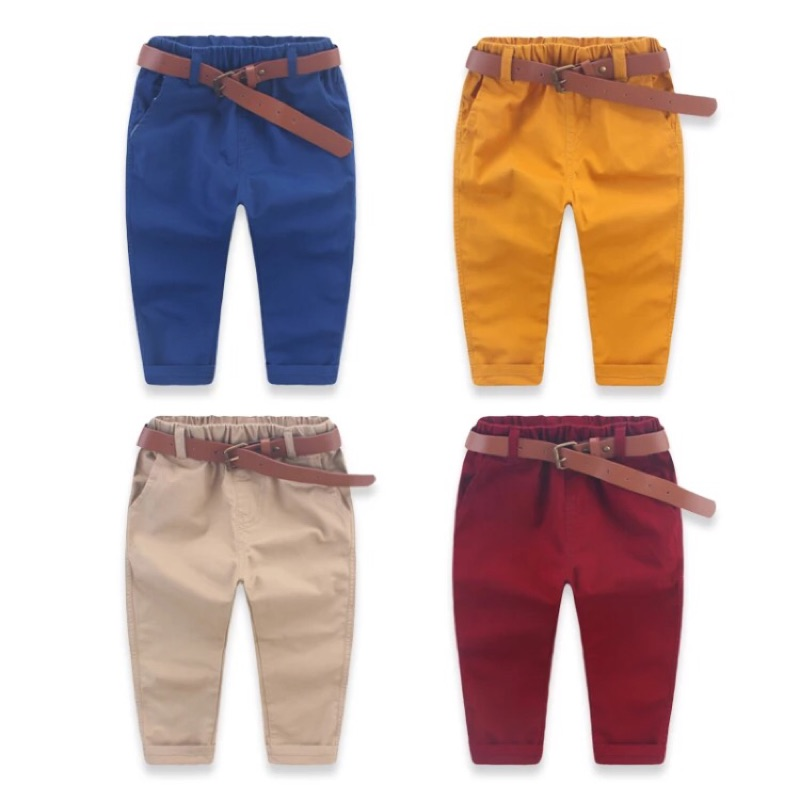 ‼️限定折扣‼️春秋款修身純色含皮帶休閒長褲