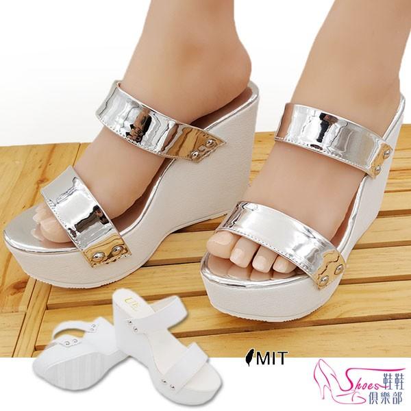 厚底鞋~鞋鞋俱樂部~~023 B738 ~ 製MIT 韓國街頭穿搭極 太空雙帶亮皮革楔型厚
