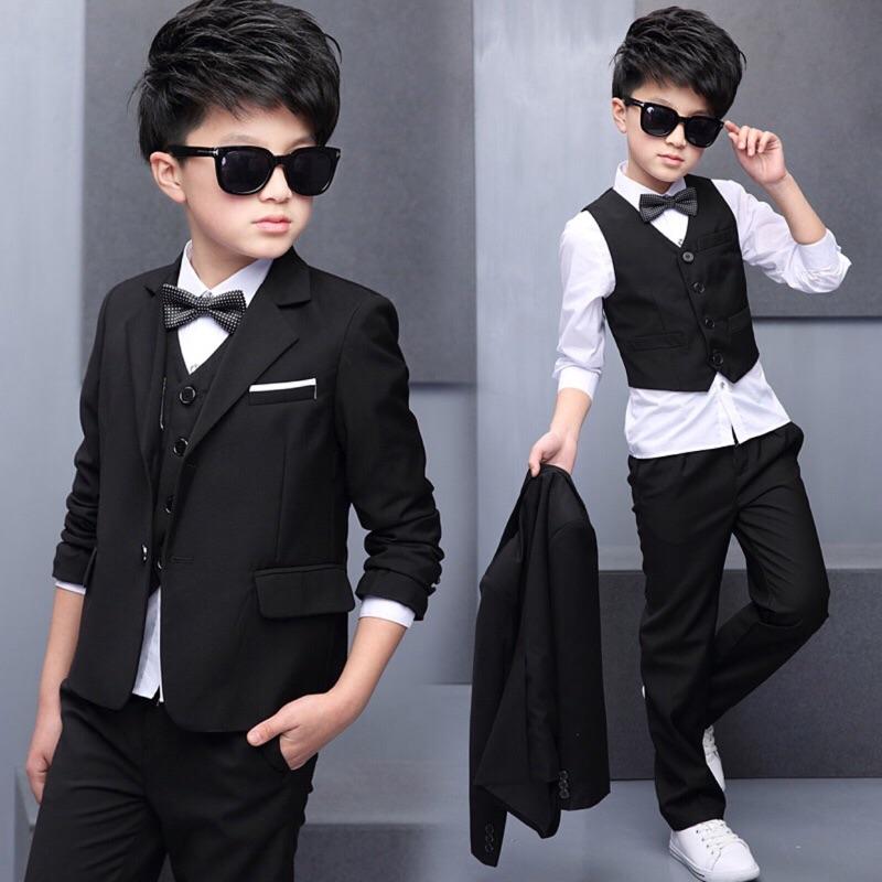 [4 ]兒童西裝長袖襯衫領結套裝五件套2017  黑色禮服演出服中大童男童小西服花童服宴會