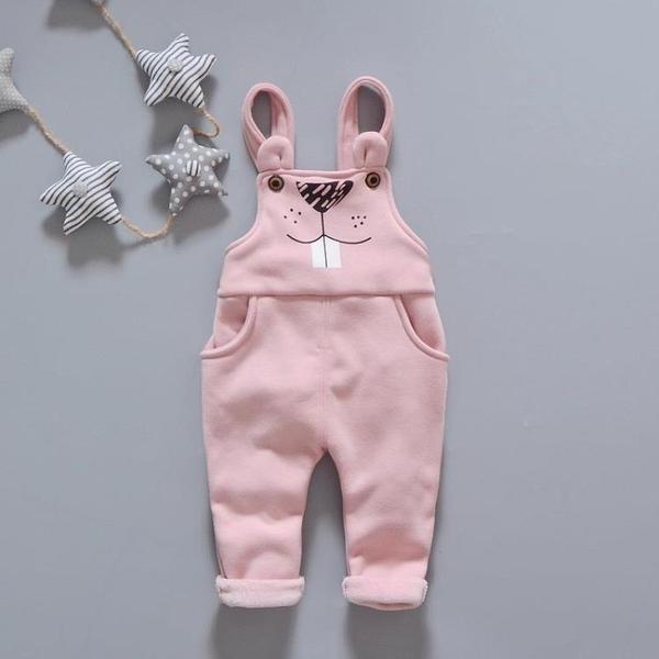 純棉兒童加絨背帶褲寶寶男女童嬰幼兒吊帶保暖連體褲