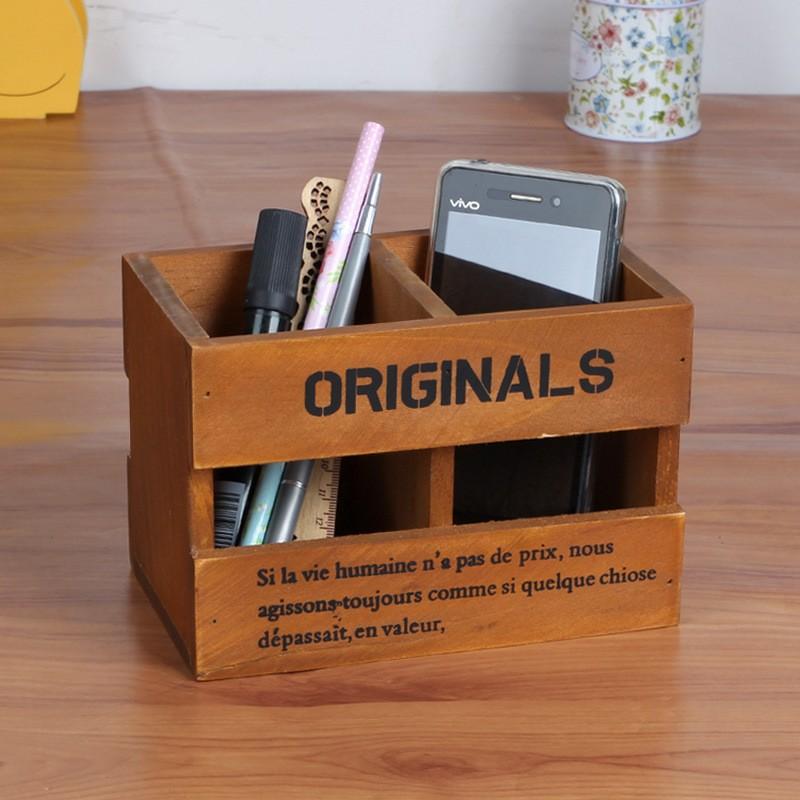 ZAKKA 雜貨木製收納盒復古做舊實木絲印三格儲物遙控器收納盒