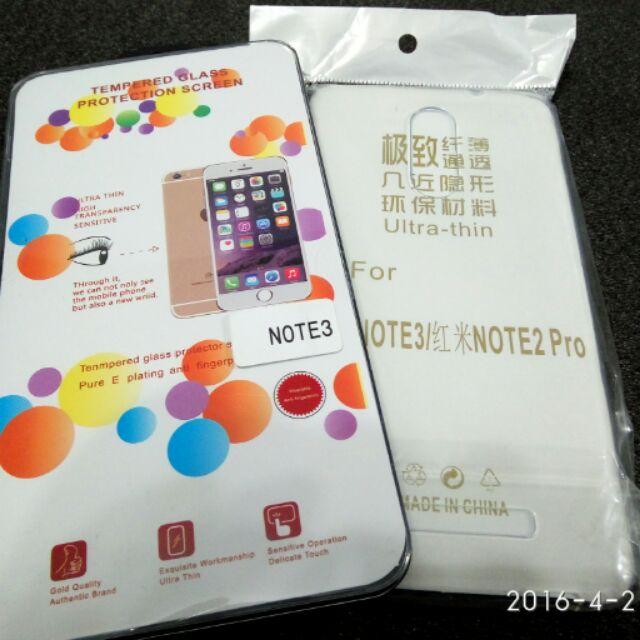 紅米Note3 鋼化貼透明軟膠套