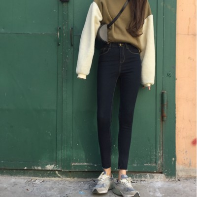 春裝 深色高腰修身顯瘦彈力褲腳撕邊牛仔小腳九分鉛筆褲女